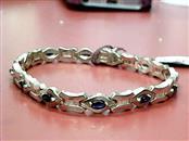 14KT Blue Stone Gold-Diamond & Stone Bracelet TENNIS 35 Diamonds .35 Carat T.W.